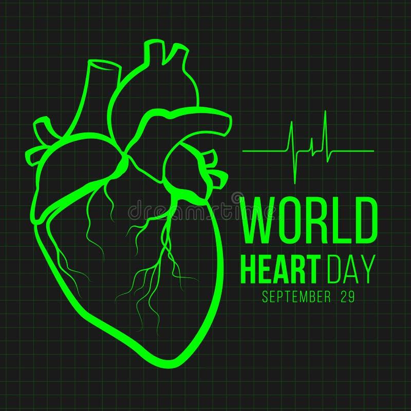 Знамя дня сердца мира с зеленым человеческим знаком сердца и знак сердца волны на векторе предпосылки черноты монитора конструиру иллюстрация вектора