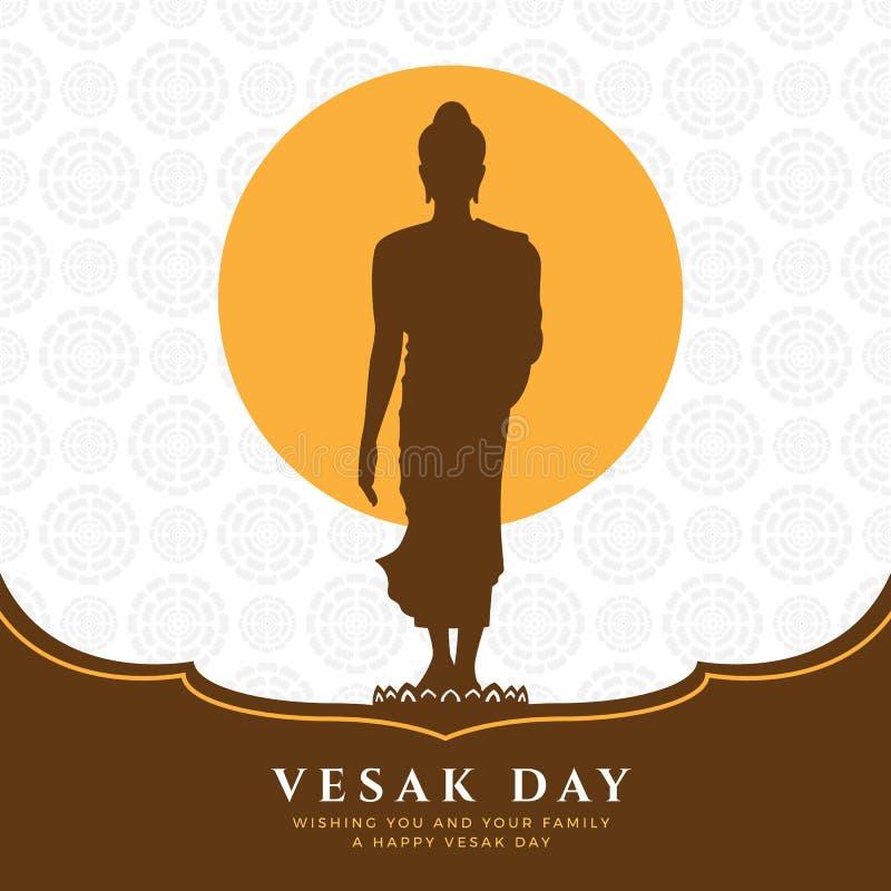Знамя дня Vesak с знаком Будды стоит вверх на лотосе и полнолунии на дизайне вектора предпосылки текстуры конспекта лотоса иллюстрация вектора
