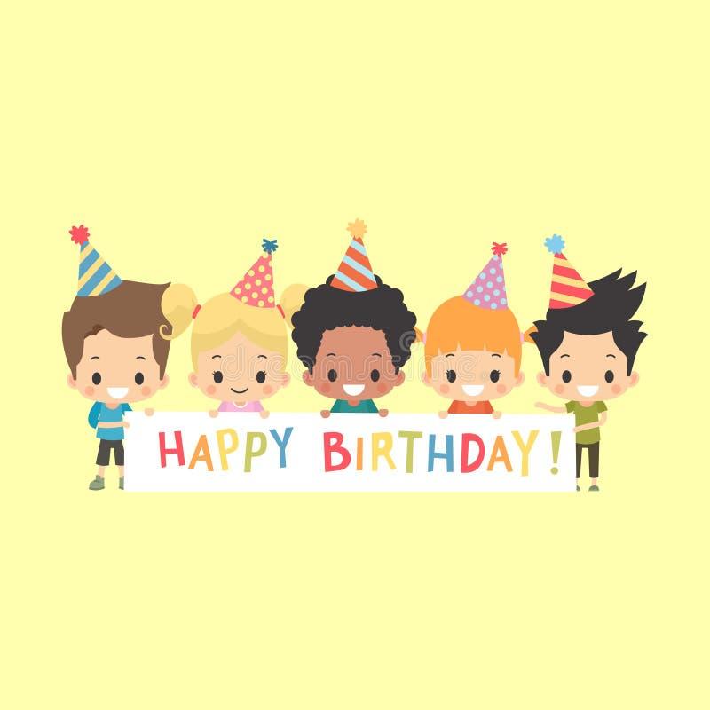 Знамя детей с днем рождения иллюстрация штока