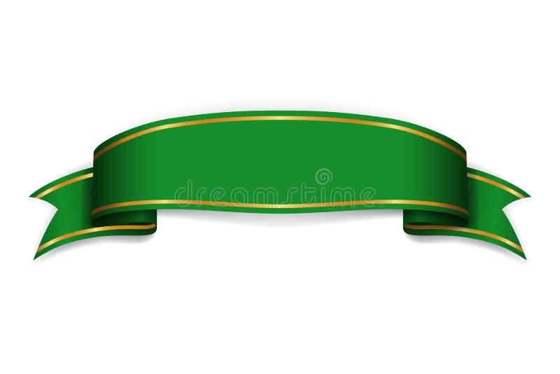 Знамя зеленого цвета ленты Подпишите продвижение сатинировки пустое, сеть, рекламируя знамя Сияющий элемент украшения дизайна пер иллюстрация штока