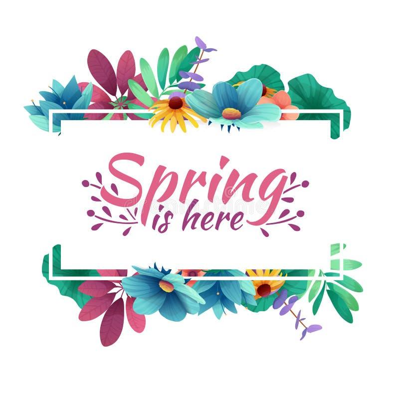 Знамя дизайна с весной здесь логотип Карточка на весенний сезон с белыми рамкой и травой Предложение продвижения с sprin иллюстрация штока