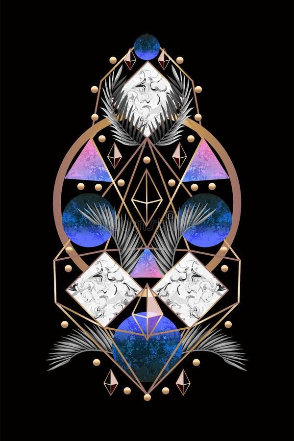 Знамя или печать дизайна конспекта симметрии с листьями и треугольниками ладони r иллюстрация штока