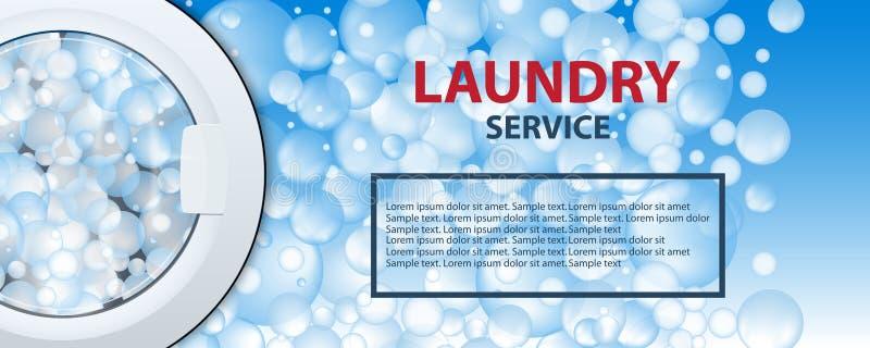 Знамя или плакат прачечной Предпосылка барабанчика стиральной машины с пузырями мыла реалистическая иллюстрация 3d Вид спереди, к иллюстрация штока
