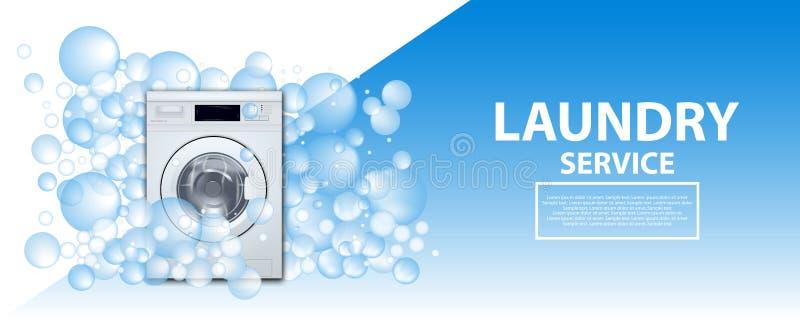Знамя или плакат прачечной Предпосылка стиральной машины передняя нагружая с пузырями мыла реалистическая иллюстрация 3d Прачечна бесплатная иллюстрация