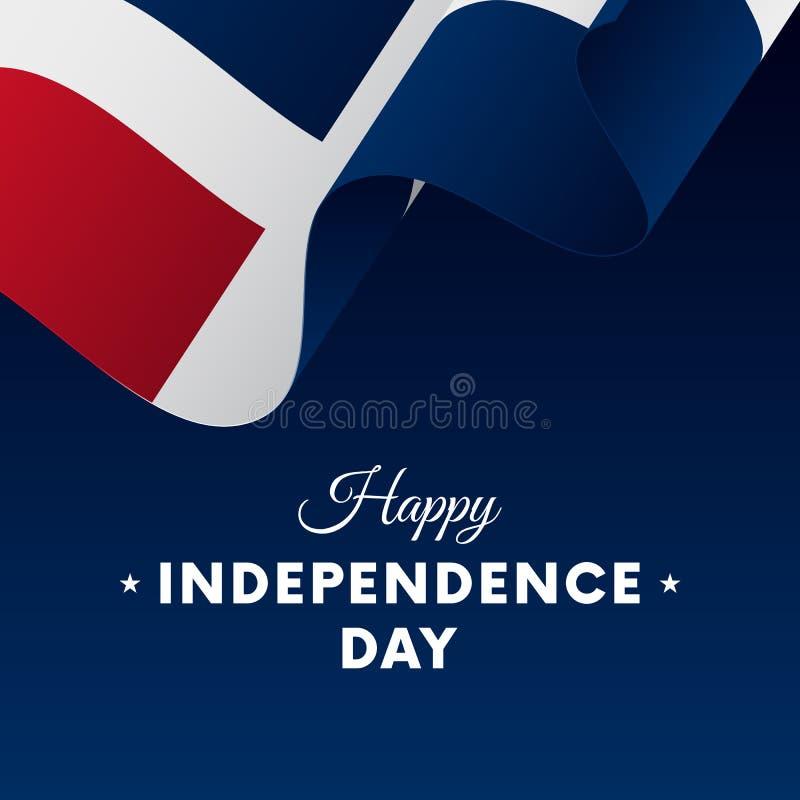 Знамя или плакат торжества Дня независимости Доминиканской Республики Развевая флаг также вектор иллюстрации притяжки corel бесплатная иллюстрация