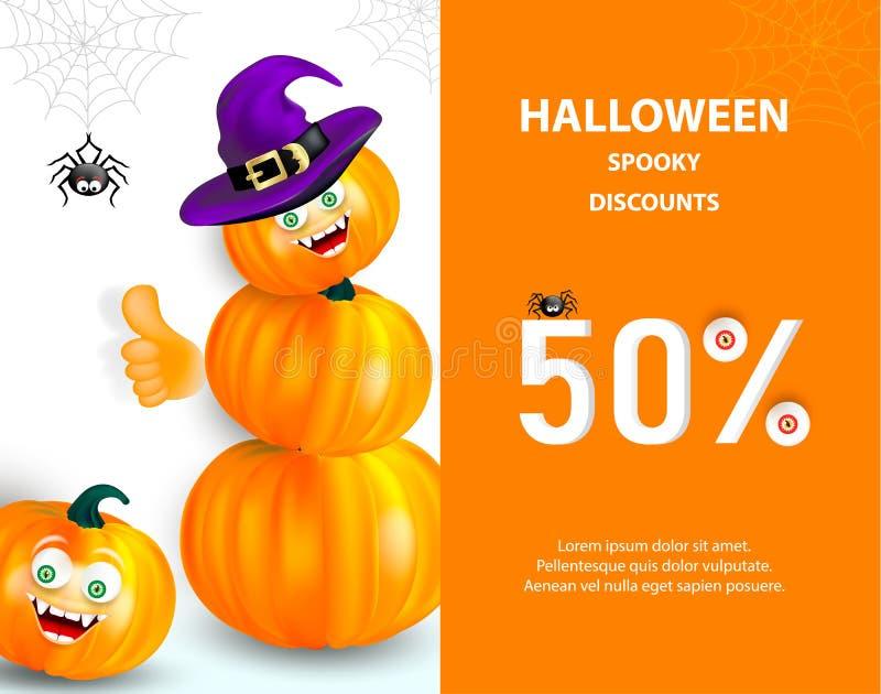 Знамя или рогулька продажи праздника хеллоуина Счастливая оранжевая тыква с смешной стороной изверга и шляпа ведьмы показывая бол иллюстрация штока