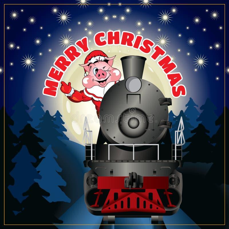 Знамя иллюстрации свиньи в одежде Санта Клаусе стоковое фото