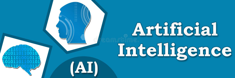 Знамя искусственного интеллекта голубое абстрактное