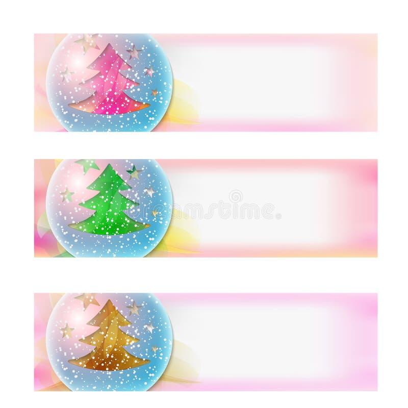 Знамя и рождественская елка вектора абстрактные иллюстрация вектора