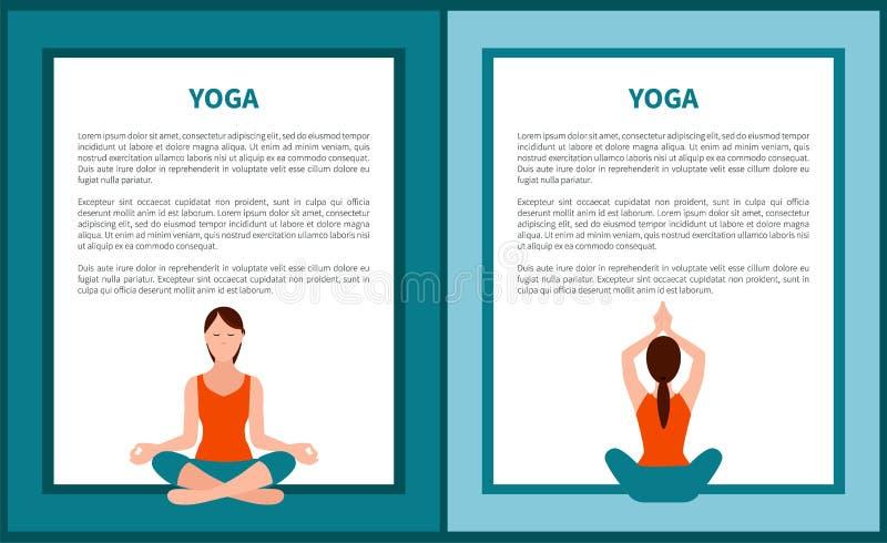 Знамя йоги, женщина в сидя представлениях, значках цвета бесплатная иллюстрация