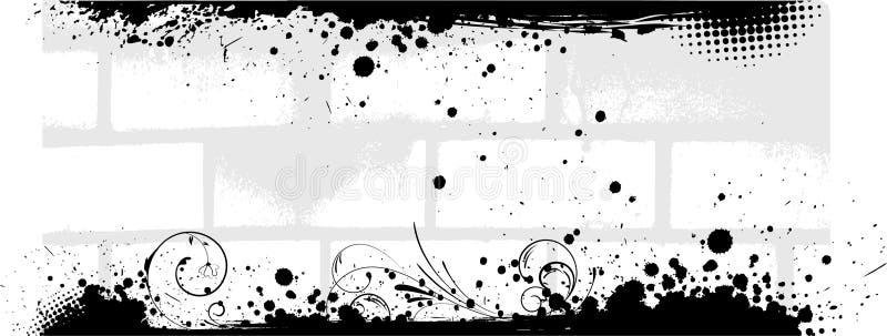 Знамя кирпичной стены Grunge иллюстрация штока