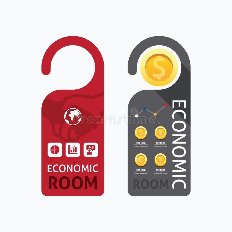 Знамя комнаты бумажной концепции вешалок замка ручки двери экономическое иллюстрация штока