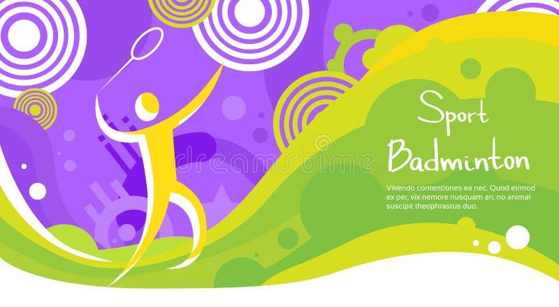 Знамя конкуренции спорта спортсмена игрока бадминтона красочное бесплатная иллюстрация