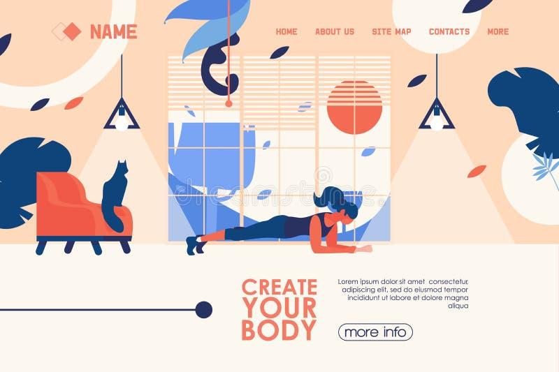 Знамя концепции вектора для домашнего спортзала тренировки или гаража в плоском стиле с женщиной делая тренировку планки Яркий пр бесплатная иллюстрация