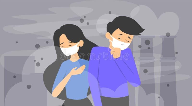 Знамя концепции загрязнения воздуха Смог в городе иллюстрация штока