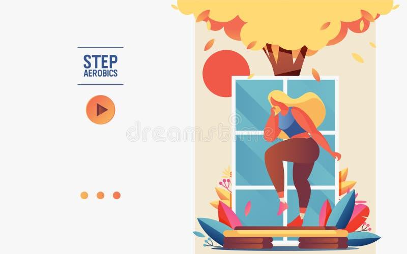 Знамя концепции или шаблон буклета с молодой женщиной делая аэробику шага Растительность, дерево, окно и платформа для образа жиз иллюстрация штока