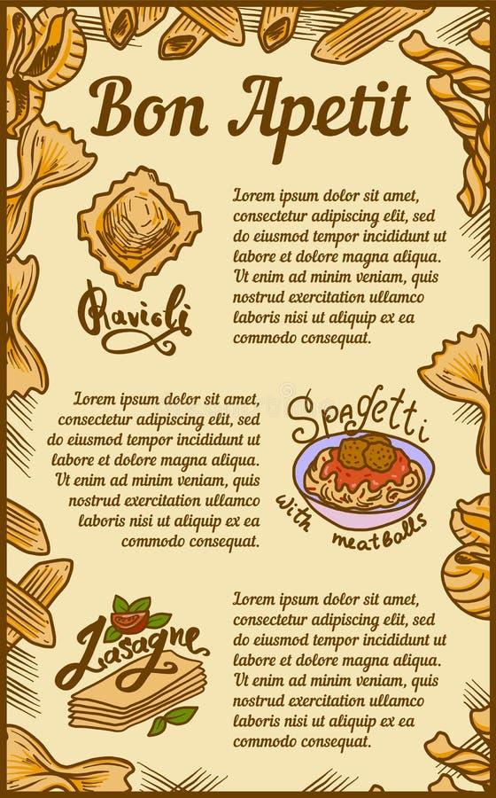 Знамя концепции лазаньи равиоли appetit Bon, стиль руки вычерченный иллюстрация вектора