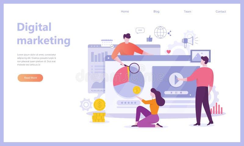 Знамя концепции маркетинга цифров Социальная сеть, средства массовой информации бесплатная иллюстрация