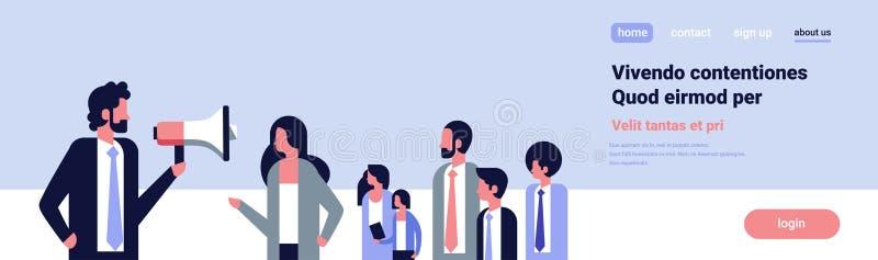 Знамя концепции речи демонстрации оппозиции активиста руководителя группы дела мегафона бизнесмена говоря социальное плоско иллюстрация вектора