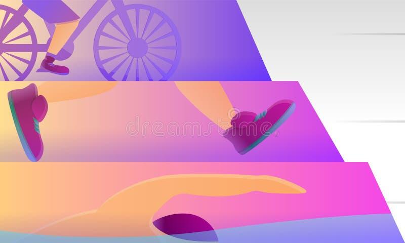 Знамя концепции спорта триатлона, стиль мультфильма бесплатная иллюстрация