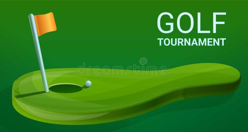 Знамя концепции турнира гольфа, стиль мультфильма иллюстрация штока