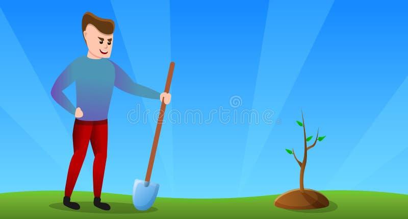 Знамя концепции человека добровольное, стиль мультфильма иллюстрация штока
