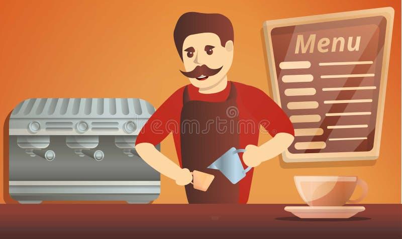 Знамя концепции человека кофе Barista, стиль мультфильма иллюстрация штока