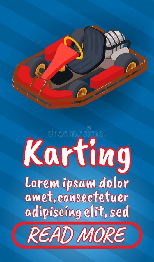 Знамя концепции Karting, стиль комиксов равновеликий иллюстрация вектора