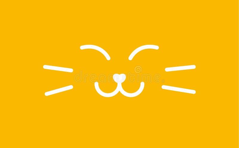 Знамя кота спать намордника Удовлетворенная сладкая линия шаблон киски логотипа стиля Smiley иллюстрация вектора кота на желтом ц иллюстрация штока