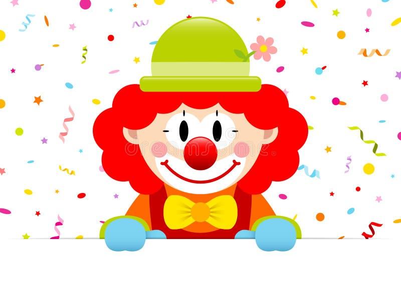 Знамя красных волос клоуна горизонтальное с лентами и Confetti иллюстрация вектора