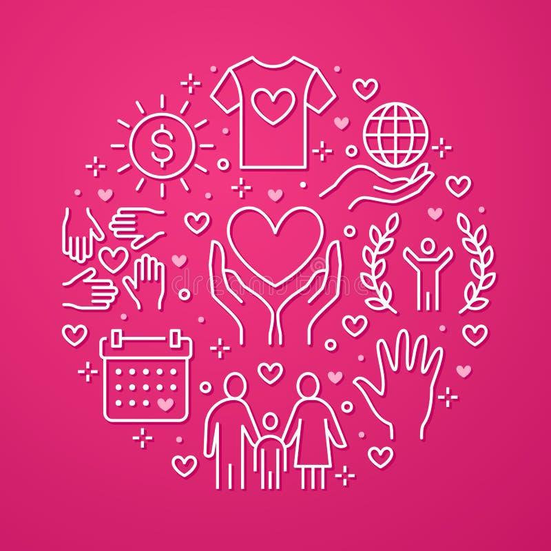 Знамя круга вектора призрения с плоской линией значками Пожертвование, некоммерческая организация, НЕПРАВИТЕЛЬСТВЕННАЯ ОРГАНИЗАЦИ бесплатная иллюстрация