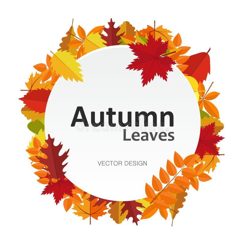 Знамя круга с листьями осени Карточка ярлыка рамки сезона падения круглая Предпосылка ваш дизайн иллюстрация вектора