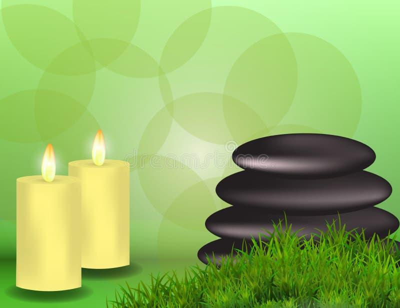 Знамя курорта с камнями, свечами и травой с космосом для текста, f иллюстрация штока