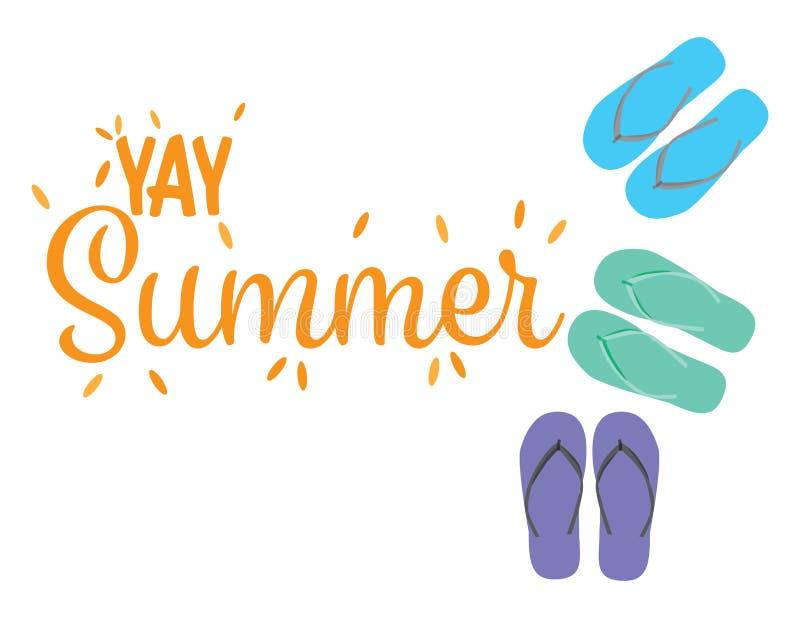 Знамя лета лета Yay счастливое радушное с иллюстрацией темповых сальто сальто вектора бесплатная иллюстрация