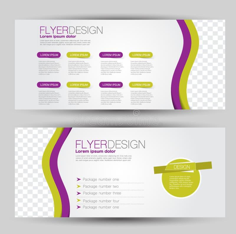 Знамя летчика или набор шаблона заголовка сети Предпосылка дизайна продвижения иллюстрации вектора Пурпурный и желтый цвет бесплатная иллюстрация
