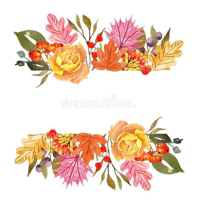 Знамя листьев и заводов осени акварели, изолированное на белой предпосылке Граница падения флористическая для карт, приглашений бесплатная иллюстрация