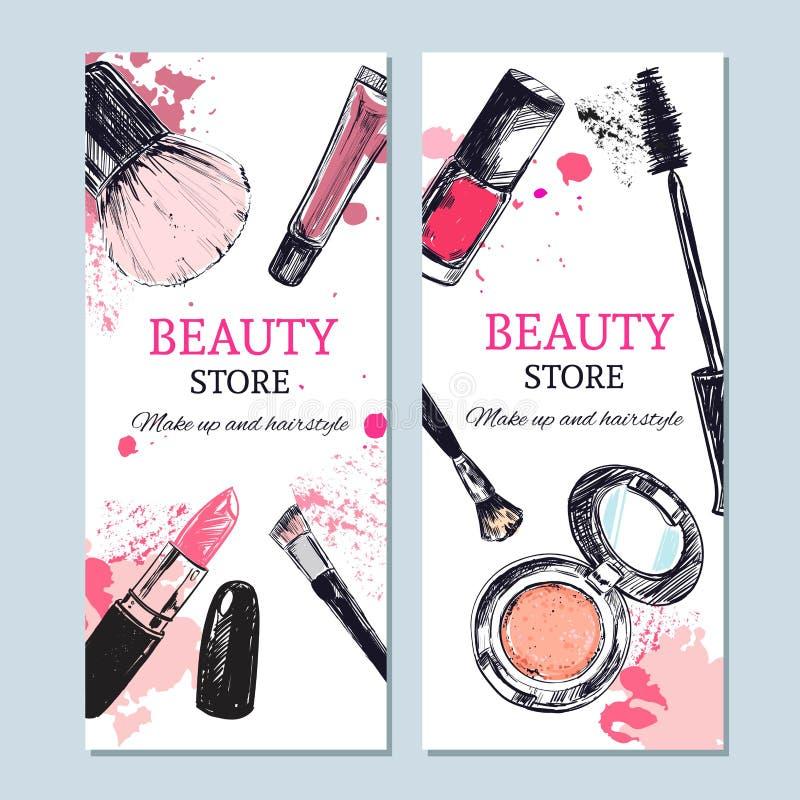 Знамя магазина красоты с составляет объекты Вектор шаблона Объекты нарисованные рукой изолированные Косметика бесплатная иллюстрация