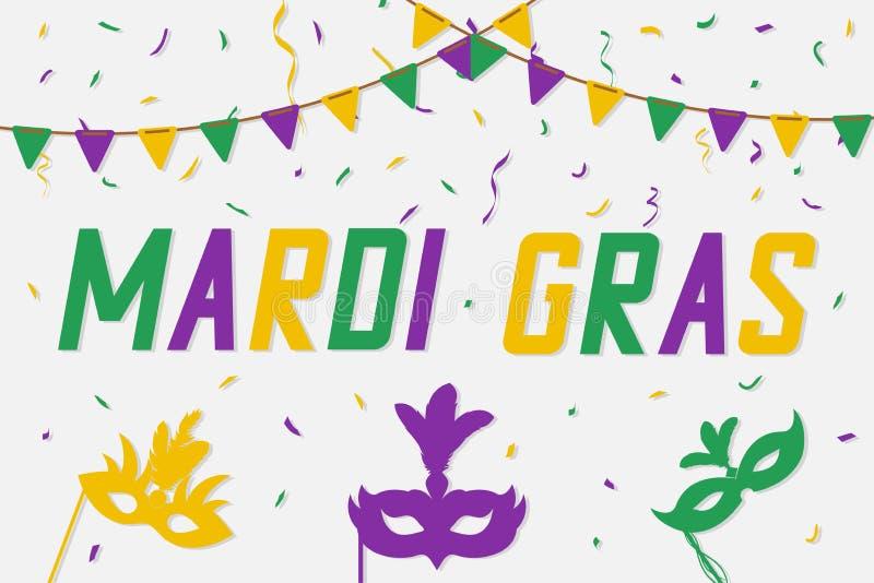 Знамя марди Гра с маской масленицы и confetti цвета Праздничная carnaval предпосылка вектор иллюстрация штока