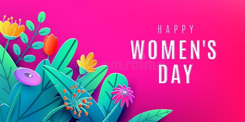Знамя Международного женского дня со срезанными цветками фантазии бумажными, листьями, текстом шрифта приветствуя Угловой состав, иллюстрация штока