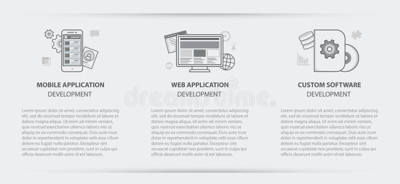 Знамя меню концепции дела применения таможни app сети иллюстрация штока