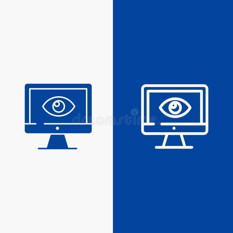 Знамя монитора, онлайн, значка линии и глифа знамени твердого значка уединения, наблюдения, видео, линии дозора и глифа голубого  иллюстрация штока