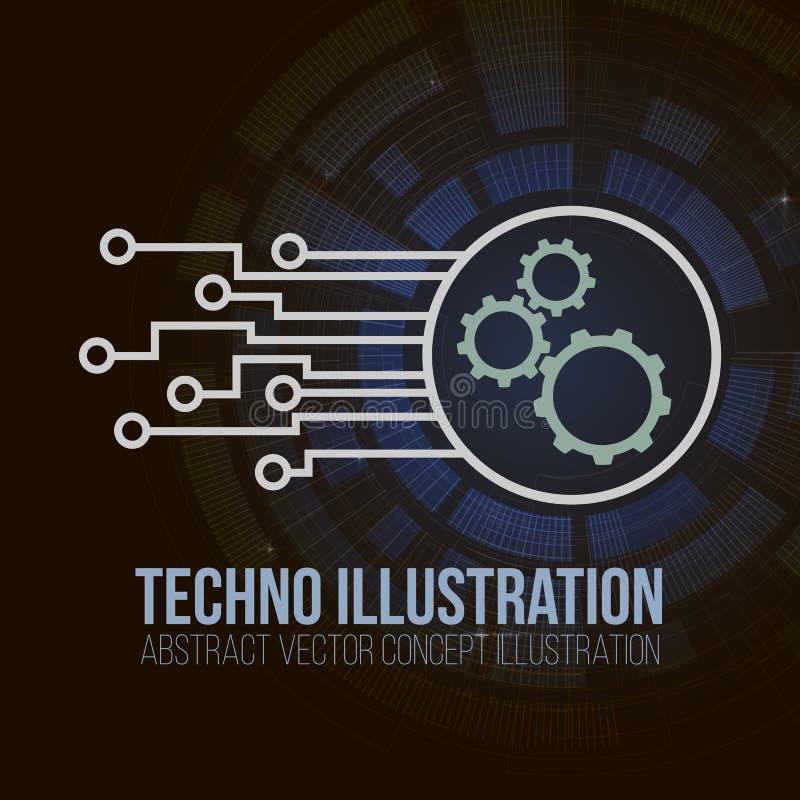 Знамя монтажной платы на темной предпосылке Шестерни, инженерство и техник, материнская плата и компьютер конструируют, иллюстрация штока