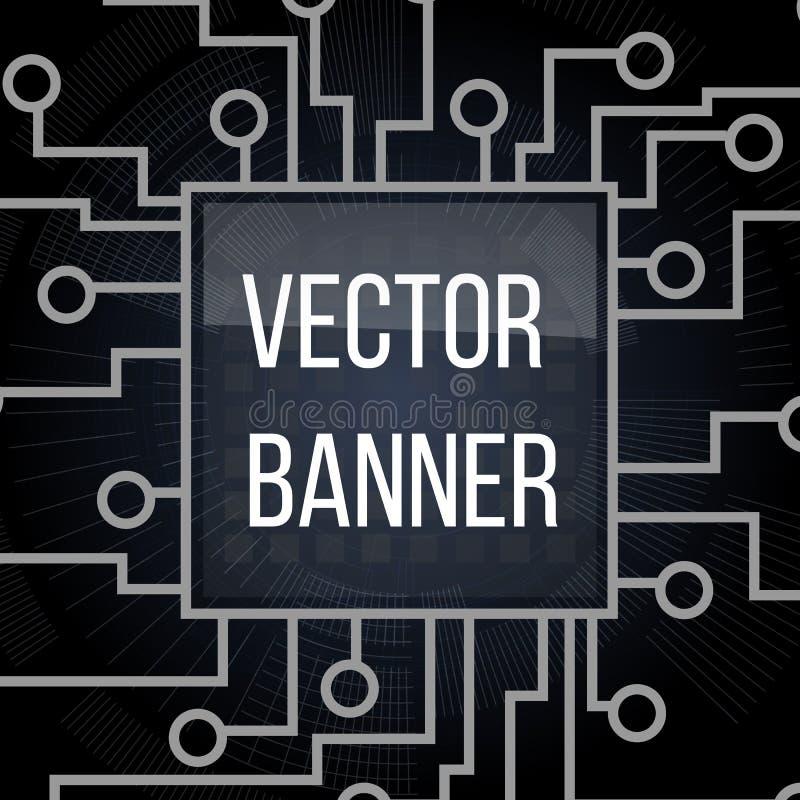 Знамя монтажной платы на черной предпосылке Дизайн материнской платы и компьютера, иллюстрация иллюстрация штока