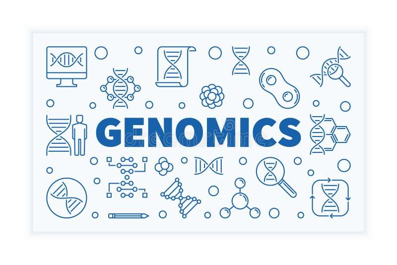 Знамя науки плана вектора геномики горизонтальное иллюстрация штока