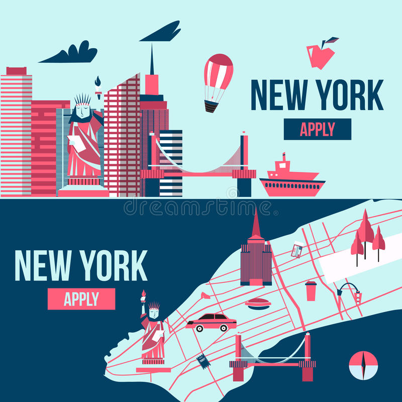 Знамя Нью-Йорка Иллюстрация вектора дизайна шаржа силуэта горизонта Манхаттана США иллюстрация штока