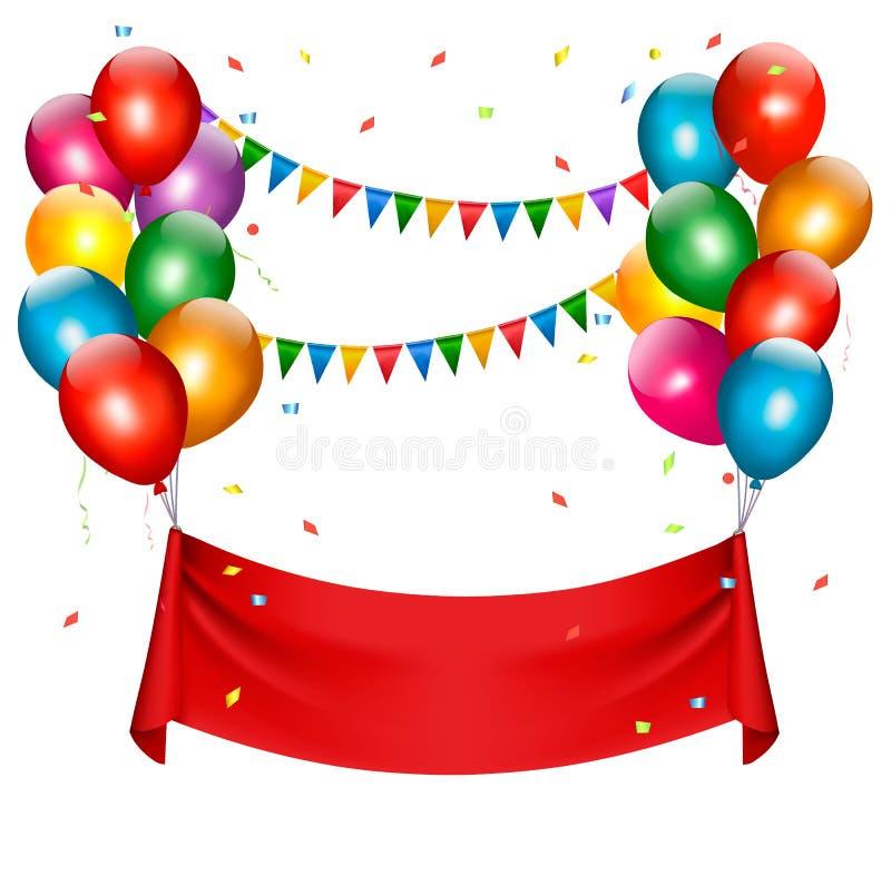 Знамя дня рождения праздника с воздушными шарами иллюстрация вектора