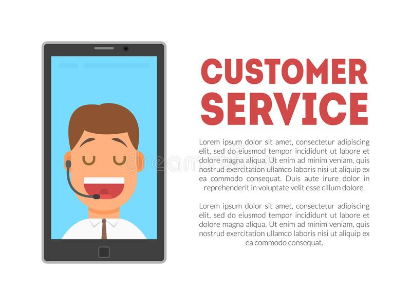 Знамя обслуживания клиента, центр телефонного обслуживания, служба технической поддержки, иллюстрация вектора линии для помощи иллюстрация вектора