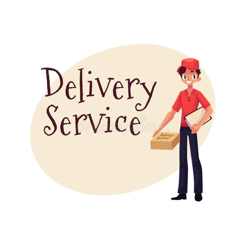 Знамя обслуживания поставки при курьер стоя с пакетом и доской сзажимом для бумаги бесплатная иллюстрация