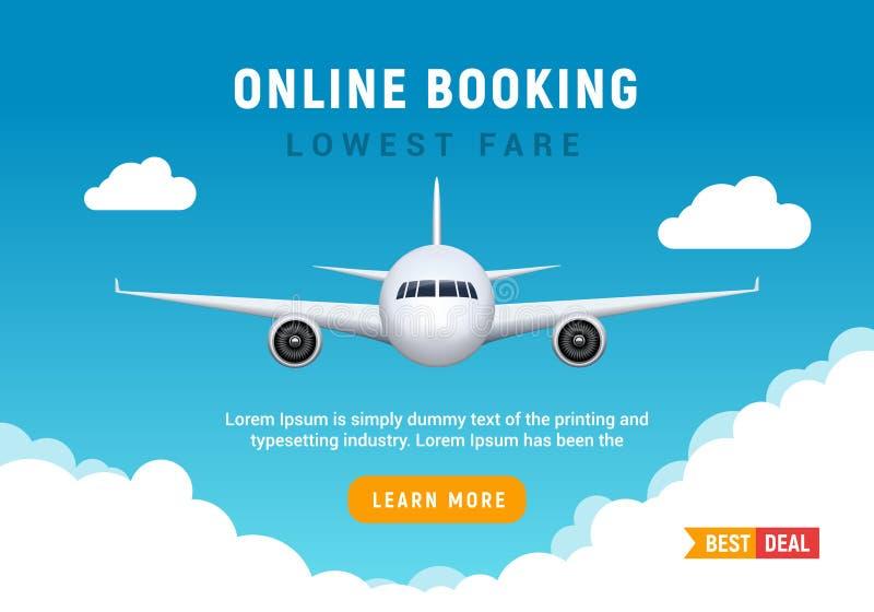 Знамя отключения перемещения полета для онлайн резервирования Шаблон promo дизайна продажи билета самолета вектора онлайн иллюстрация вектора