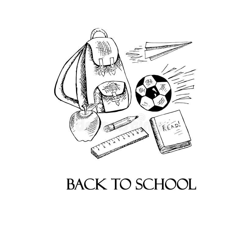 Знамя оформления назад к школе Monochrome рюкзак эскиза бесплатная иллюстрация